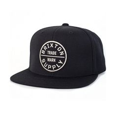 Brixton Oath III Snapback Hat Black (40 AUD) ❤ liked on Polyvore featuring accessories, hats, black snapback, black snapback hats, black snap back hat, panel cap and snapback cap