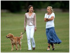 Kate Middleton walking her Golden Retriever with Chelsy Davy after watching Princes William and Harry playing Polo at The Beaufort Polo Club...