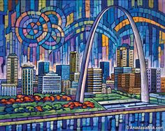 Blue St Louis is an archival giclée art print depicting St Louis skyline along with the St Louis Arch. This St Louis art print makes a great gift