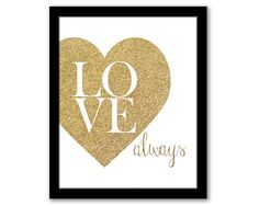 INSTANT DOWNLOAD Love Always Gold Glitter Art by SeventeenFields, $5.25