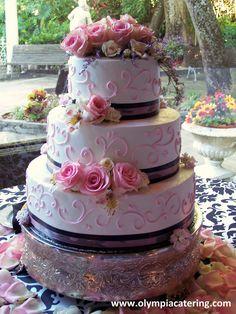 Round Wedding Cake, Purple Ribbon, Pink Swirl Piping Detail, Fresh Flowers, 3 Tier
