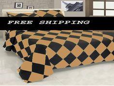 3 Pc Egyp. Cotton Dk Rust& Black Diamond Style Duvet Cover Set Twin Size. Xmas