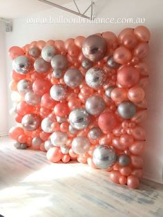 How to Make a Balloon Wall for a Party rose gold and silver balloon wall Diy Wedding Decorations, Balloon Decorations, Birthday Decorations, Parties Decorations, Balloon Backdrop, Balloon Columns, Balloon Balloon, Diy Backdrop, Wedding Picture Walls