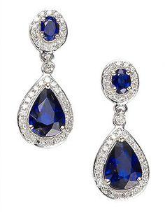 shopstyle.com: EFFY COLLECTION 14 Kt. White Gold Ceylon Sapphire & Diamond Earrings, .31 CTW