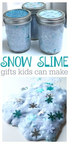 Snow Slime Gifts for Kids! Let your kids make their own DIY gifts for friends and family. Use Elmer's Glue, borax, and glitter to make homemade slime in minutes and then just package it up in a mason jar! Kids Crafts, Holiday Crafts For Kids, Christmas Activities, Christmas Fun, Christmas Items, Handmade Christmas, Diy Gifts For Kids, Preschool Christmas, Indoor Activities