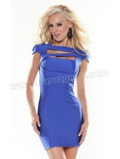 High Neck Cap Sleeved Royal Blue Chiffon Sheath Cocktail Occasion Gown