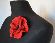 broszka z filcu czerwona mak - JustKa313 - Broszki z filcu