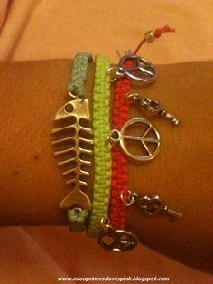 DIY#bracelets#macrame#square knot#arm party#aqua#lime#pink#neon#charms#fishbone#key#peace sign#waxed#cord#floss