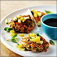 Quick And Easy Vegetarian Dinners Like These Herbed Tofu Cakes! - Have been meaning to try cooking w/ tofu.this look like a tasty place to start! Easy Vegetarian Dinner, High Protein Vegetarian Recipes, Vegetarian Main Dishes, Tofu Recipes, Vegetarian Cooking, Veggie Dishes, Cooking Recipes, Healthy Recipes, Vegetarian Stew