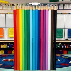 Pool noodle pencils are incredibly easy to make. They just might be the perfect addition to your classroom door or bulletin board display. Check 'em out! Kindergarten Classroom Decor, Diy Classroom Decorations, Classroom Walls, New Classroom, Classroom Design, Classroom Window Display, Classroom Birthday Board, Preschool Bulletin, Classroom Organization