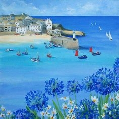 Cornwall Art Galleries Ltd is a family run business that has developed over time, starting many years ago with a small boutique style art gallery in the picturesque fishing village of St Ives in Cornwall. Seaside Art, Coastal Art, Beach Art, Illustrations, Illustration Art, St Ives, Naive Art, Seascape Paintings, Art For Art Sake