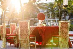 Go with bold colors on the beach for great reception decor! #DreamsTulum #Mexico #Destinationwedding
