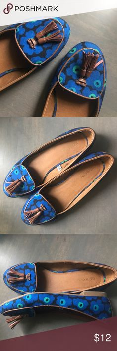 MERONA Blue floral flat loafers Great condition! Only worn once! No sign of wear except for bottom of the shoe but still get clean! MAKE AN OFFER Merona Shoes Flats & Loafers