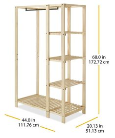 A nice, natural touch for open-air spaces, this slat wood wardrobe makes decor out of your chic and eye-catching clothing collection. From Whitmor. Diy Closet, Diy Home Decor, Home Diy, Wood Wardrobe, Painting Wooden Furniture, Diy Furniture, Home Furniture, Closet System, Diy Wardrobe