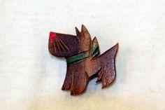 vintage dog pin wood