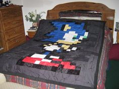 Tetris Blocks Handmade Video Game Quilt Twin Size by quiltyninja ... : video game quilt pattern - Adamdwight.com