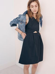 madewell cutout sundress worn with the jean jacket.