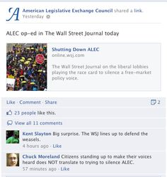 """Citizens standing up to make their voices heard does NOT translate to trying to silence ALEC."""