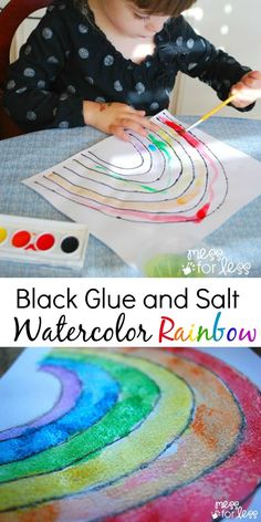Black Glue and Salt Watercolor Rainbow - One of our Favorite Rainbow Activities - perfect for Spring break craft Kids Crafts, Projects For Kids, Art Projects, Yarn Crafts, Rainbow Theme, Rainbow Art, Kids Rainbow, Rainbow Activities, Activities For Kids
