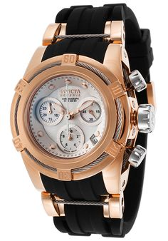 Invicta 15283 Watches,Women& Bolt Chronograph Black Polyurethane Mother of Pearl, Fashion Invicta Quartz Watches Elegant Watches, Stylish Watches, Luxury Watches For Men, Zou, Women Accessories, Jewelry Accessories, Watches Photography, Ring Watch, Fashion Watches