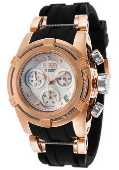 Invicta 15283 Watches,Women's Bolt Chronograph Black Polyurethane Mother of Pearl, Fashion Invicta Quartz Watches