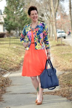 Already Pretty outfit featuring floral cardigan, coral jersey dress, skinny belt, Corso Como Del, rhinestone statement necklace