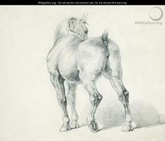Carriage horse seen from behind by Theodore Gericault, French Painter