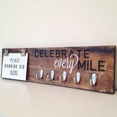 Celebrate Every Mile, Running Medal Holder, Running Plaque, Running Sign, Running Bib Holder, Marathon Sign, Custom Sign, Marathon Plaque by WorkshopOnWall on Etsy https://www.etsy.com/listing/400150667/celebrate-every-mile-running-medal