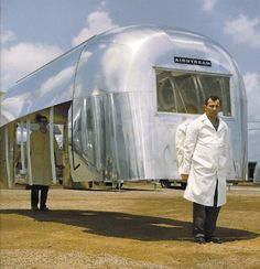 An Airstream trailer was so light that factory workers could carry it (1965).
