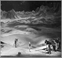 """A behind-the-scenes picture from Fritz Lang's brilliant """"Woman In The Moon (Die Frau im Mond)"""" in 1929, showing the beauty of the expansive set and backdrop."""