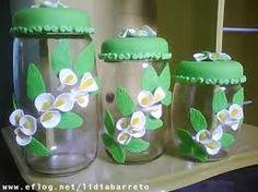 Resultado de imagem para vidros decorados com biscuit para cozinha passo a passo