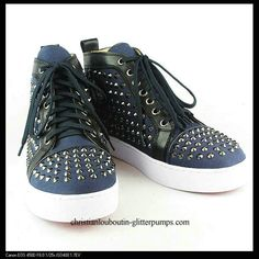 Christian Louboutin Mens Spiked Studded Sneakers Blue
