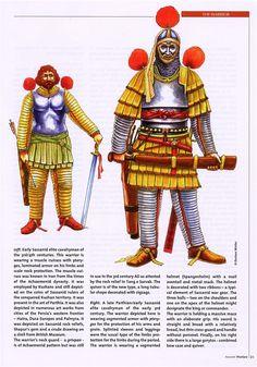 Jinetes persas: sasánida (siglo III) y parto-sasánida (c. 300 dC).