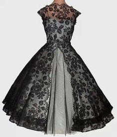 Lace vintage dress black