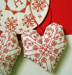 Linen Heart Valentines Day Ornament by CherieWheeler on Etsy, $10.00