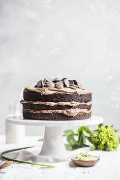 Vegan Chocolate Zucchini Cake with buttercream icing   thealmondeater.com