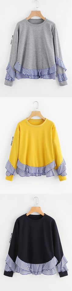 Contrast Striped Frill Trim Sweatshirt 30 Insanely Cute Casual Style Ideas To Rock This Summer – Contrast Striped Frill Trim Sweatshirt Source Diy Clothing, Sewing Clothes, Sweatshirt Refashion, Altered Couture, Altering Clothes, Diy Fashion, Fashion Design, Passion For Fashion, Creations