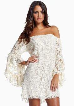 White Plain Long Sleeve Wrap Lace Mini Dress