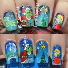 The Grinch nail art - with Cindy Lou Who #christmasnails #grinchnails