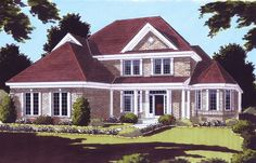 A large, spacious European style home designed with a charming exterior and exciting floor plan. A splendid home for show and family living. 3431 Living Sq. Feet, 4 Bedroom, 3 1/2 Bath. House Plan # 161187