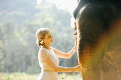 elephant riding and wedding photography at Huay Toh waterfall elephant trekking camp in Krabi. Photograph by www.lovedezign.com