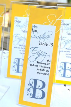 Personalized Escort Cards for Photo Booth Frames by 6elmdesigns, $45.00