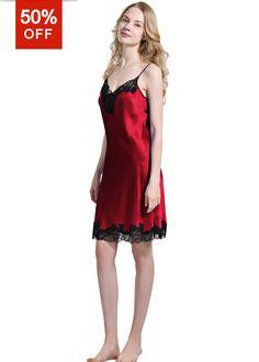 c2d5544aa6 Petite Silk Nightgown Pajamas Slip For Ladies - OOSilk