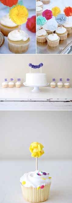 Pom Pom Wedding Cake Toppers from Potter and Butler