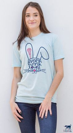 Every bunny loves lacrosse! How cute is this t-shirt? A perfect Easter gift idea for your lax girl!
