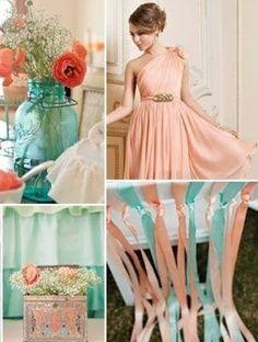 palette of champagne, peach, coral, and aqua