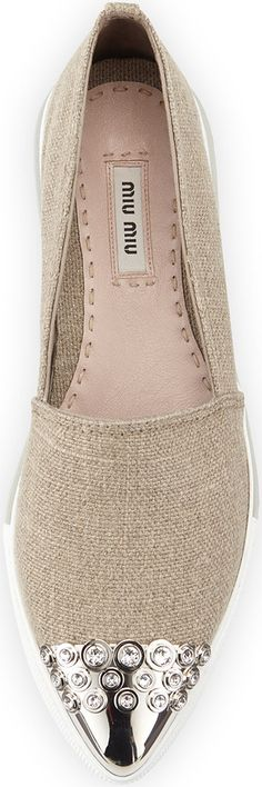 Miu Miu Embellished Cap-Toe Linen Loafer, Corda | House of Beccaria~