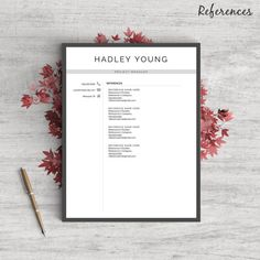 Professional  Modern Resume Template For Word  Pages The Hadley