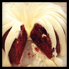 Red Velvet Chocolate Chip Bundt Cake with Cream Cheese Frosting