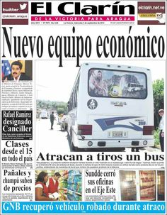 #DesayunoInformativo #Titulares #Prensa #Noticias #Primerapagina 03/09/2014 @elclarin_aragua